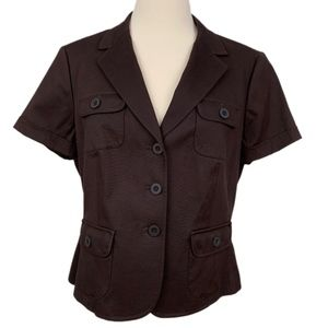 TALBOTS PETITES Women's Brown Safari Career Jacket